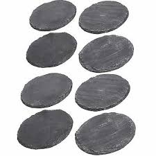 8x set round shape natural slate table dining placemat drinks coasters mats