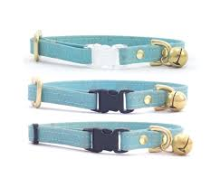 turquoise blue vegan cork leather breakaway safety cat collar with solid