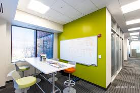 office space colors. Collaboration Space In Open Office Area, Accent Colors, Colorful Seating And Stools Colors