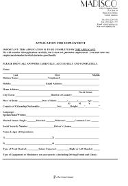 Madisco Job Application Form
