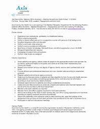 Medical Front Desk Resume New Medical Receptionist Resume Sample