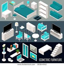 isometric office furniture vector collection. vector isometric furniture set office collection s