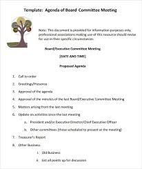 Sample Board Meeting Agenda Template 407448580196 Example Of