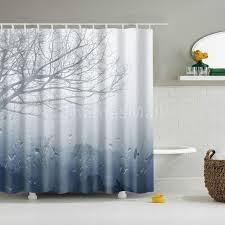 bathroom accessories tree pattern shower curtain set with 12 curtain hooks