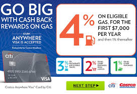 costco antwhere visa card by citi go big with cash back rewards on gas