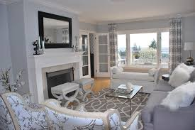 ... Transitional Living Room Idea In Vancouver Gray Living Room Walls ...