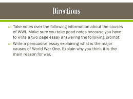 take notes over the following information about the causes of wwi  2  take notes over the following information about the causes of wwi