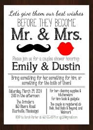 Couple Wedding Shower Invitations Printable Mr Mrs Couples Wedding Shower Invitation Lips