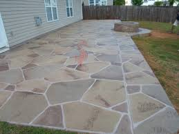 Decorative Concrete Overlay of Patio with Fire Pit (Stone Design) - Greer,  South