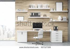 light office. Home Office With Light Wood Panels, Large Writing Table Workstation And Multiple Shelves E