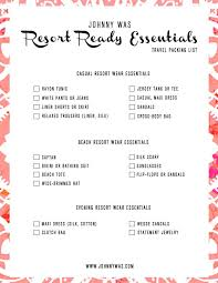 Printable Resort Essentials Vacation Packing List Johnny