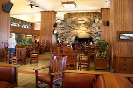the lobby is huge with two giant fireplaces on either end of the room as noted on their website this lobby is known as the great hall and for good