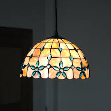 new shell pendant lamp retro stained glass hanging light dining room living lighting fixture in lights