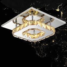 modern crystal square led crystal ceiling light chandelier square led crystal li