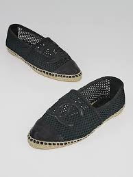 chanel black canvas and leather cc espadrille flats size 5 5 36