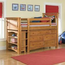 baby nursery brown solid wood kids boy loft bed set design idea red shade white