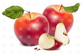 red apple slice. ripe red apple with leaf and slice vector clipart