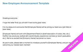 It Announcement Email Template New Employment Announcement Template