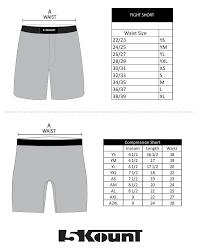 Size Chart Shorts 5kount