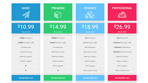 Pricing Table Templates Notoiety Bootstrap Pricing Table