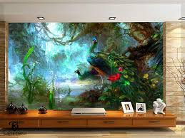 Kayra Decor Peacock in The Jungle 3D Wallpaper Print Decal Deco ...