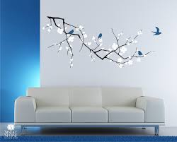 Decorations:Comfortable Vinyl Wall Art Ideas With Hanging Bird Cage Ideas  Excellent Cherry Blossom Branch