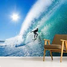 surfer on blue ocean wave wall mural