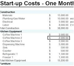 Business Start Up Expenses Excel Start Up Business Budget Template Startup Costs