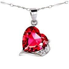 pws015cr sterling silver 12mm heart cut created ruby pendant with 18 chain