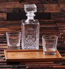 personalized wood bar tray set with decanter 2 whiskey glasses