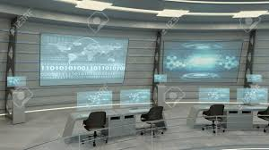 Futuristic Interior View Of Office With Holographic Screen And