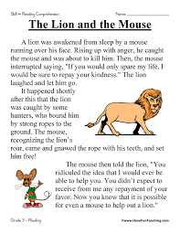 The Lion and the Mouse - Reading Comprehension Worksheet