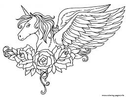 Print ornate winged unicorn flowers coloring pages   unicorn ...