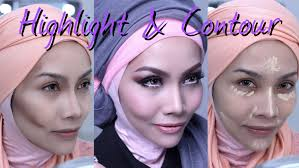 contour highlight teknik mekap bentuk wajah runcing hidung mancung you siti nurhaliza makeup orange lipstick tutorial pilih foundation yang betul
