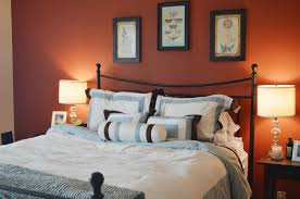 bedroom: Orange Accents Wall Painted Of Modern Bedroom Design Idea Feat  Beautiful Wall Artwork Design