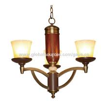 china shenzhen chandelier lamp with e27x8 antique brass iron red wood pendant light with 8