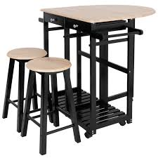 Solid Wood Dining Table Set Rolling Kitchen Island Space Saving 2