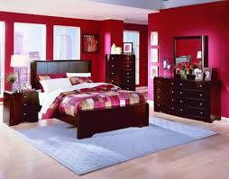 red wall paint black bed:  dark furniture bedroom wall paint ideas