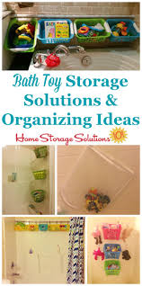 lots of bath toy storage solutions and organizing ideas including diy methods