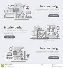 Interior Design Concept Paper Interior Design Process Decoration Set Of Banner And Header