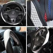 circle cool sport racing style black and white leather steering wheel wrap cover medium 14 25 to