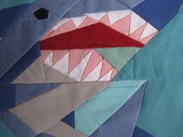 Shark Block for Traveling Quilt | Christine Doyle & Shark block detail Adamdwight.com