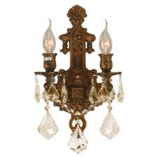 versailles collection 2 light french gold finish golden teak crystal wall sconce 12 w