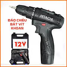 Máy khoan pin Hitachi 12V - Khoan 2 cấp tốc độ - Đảo chiều bắt vít - Máy  khoan bắt vít sửa chữa bắn vít bắn tôn