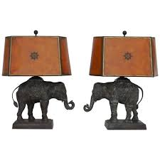 pair of large bronze elephant lamps by maitland smith for