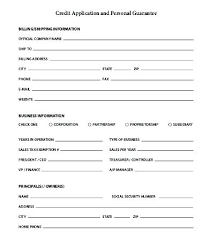 Personal Credit Application Form Generic For Business Free