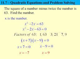11 7 quadratic equations and problem solving