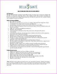 Resume For Receptionist Position Sample Receptionist Position Description Gym Job Resume Free 16