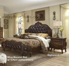 Lavelle Melange Leather Tufted Wing King Mansion Master Bedroom