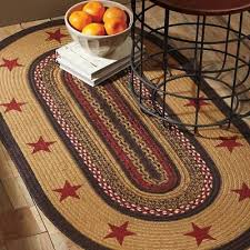 details about landon stenciled star jute primitive country cottage oval round braided rug